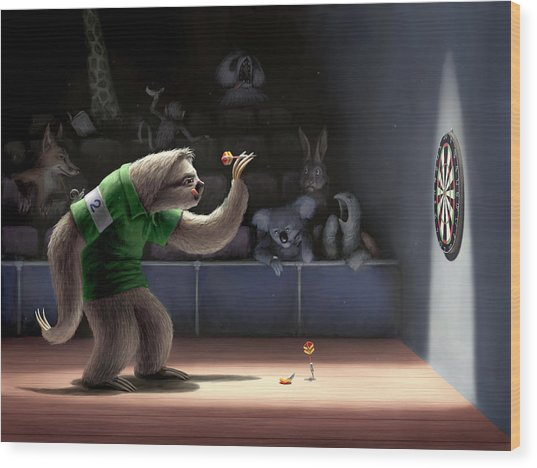 Sloth Darts Wood Print