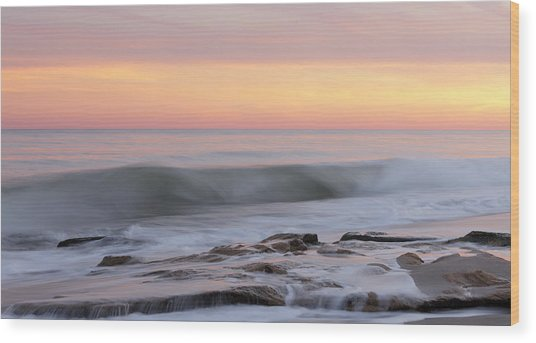 Slow Motion Wave At Colorful Sunset Wood Print