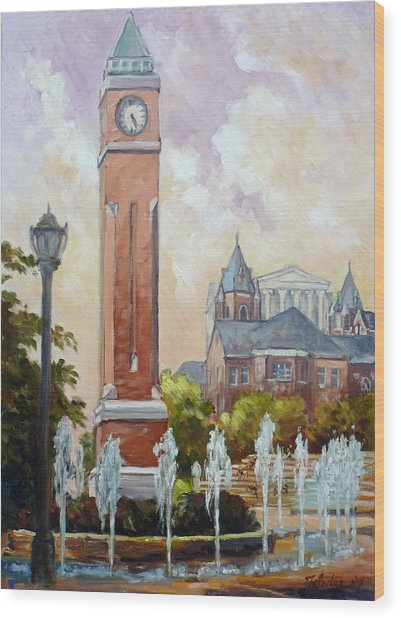 Slu Clock Tower In St.louis Wood Print