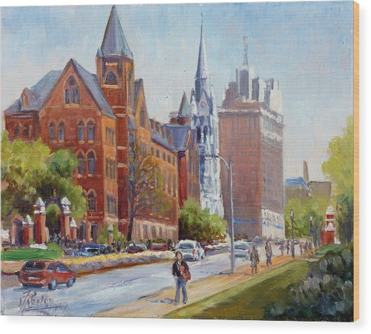 Slu Gate Grand Blvd Saint Louis Wood Print