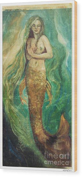 Slumbering Natural Siren Wood Print