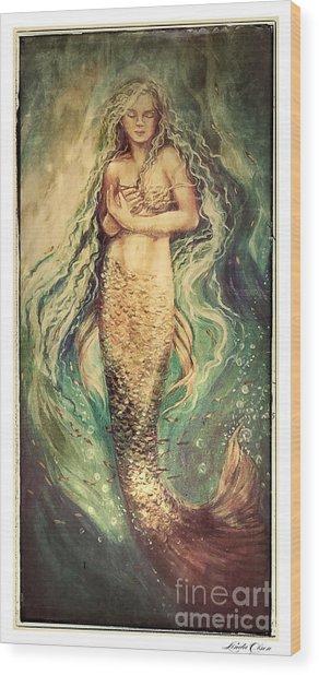 Slumbering Siren Illustration Wood Print