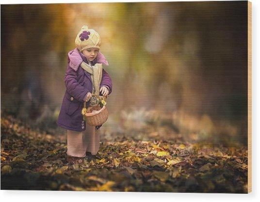 Small Autumn Fairy Wood Print
