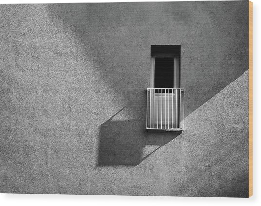 Small Balcony And Its Shadow Wood Print