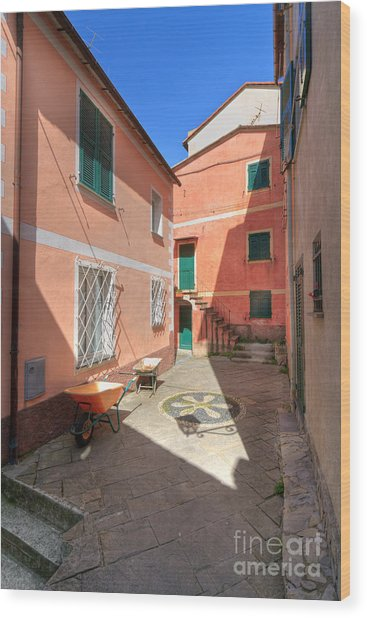 small square in Camogli Wood Print