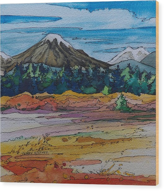 Small Sunriver Scene Wood Print