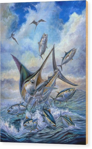 Small Tuna And Blue Marlin Jumping Wood Print
