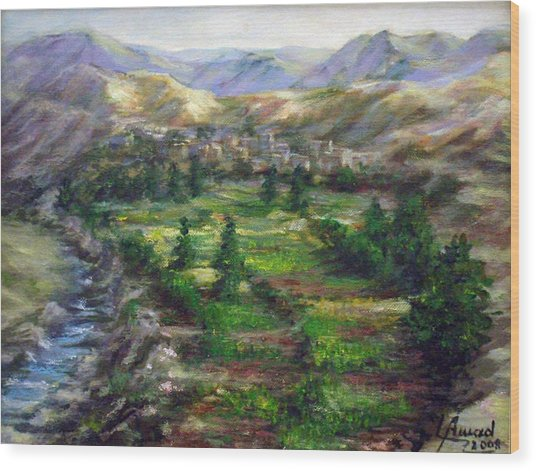 Village In The Mountain  Wood Print
