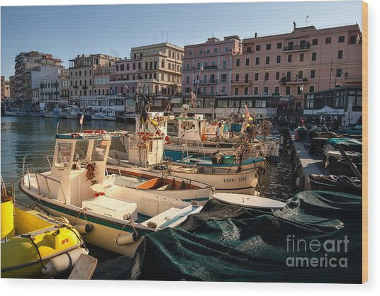 small working fishing boats moored stern first in Anzio harbour Wood Print