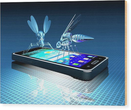 Smartphone With Nano Bugs Wood Print by Victor Habbick Visions