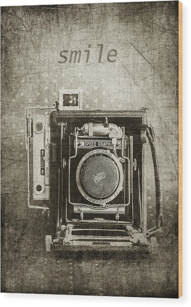 Smile For The Camera - Sepia Wood Print