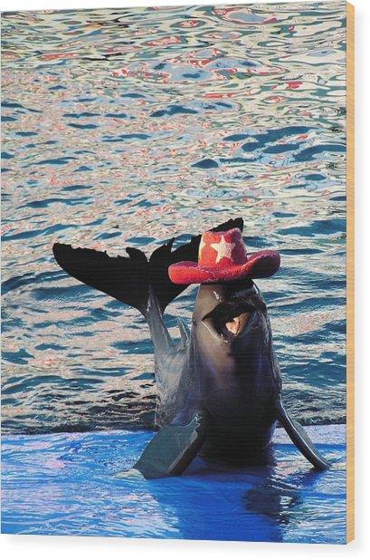 Smiley Dolphin Wood Print by Sarode Nimmanwattana