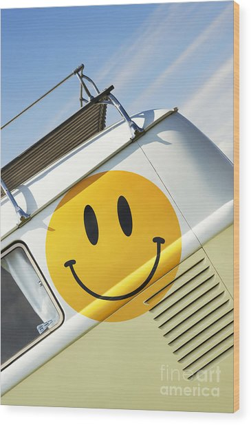 Smiley Face Vw Campervan Wood Print