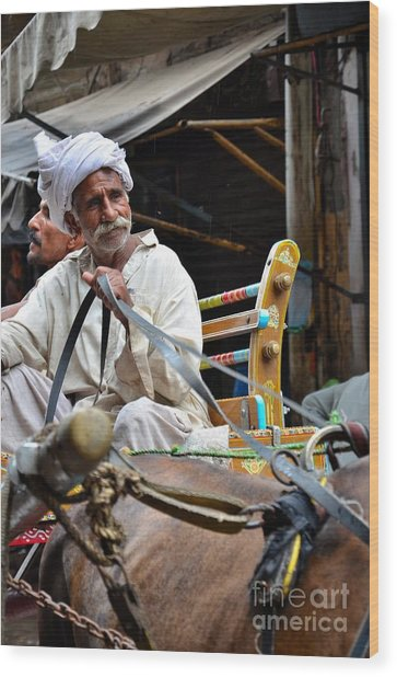 Smiling Man Drives Horse Carriage In Lahore Pakistan Wood Print