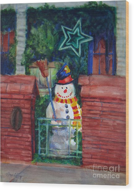 Smiling Snowman 1 Wood Print