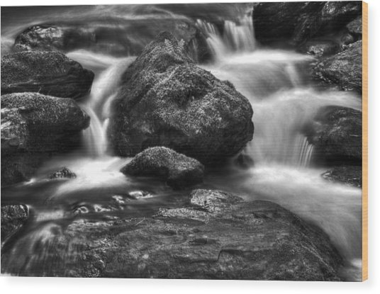 Smith Creek In Black And White Wood Print