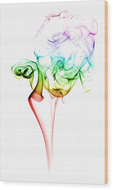 Smoke And Colours Wood Print