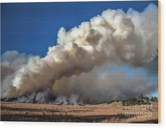 Smoke Column From The Norbeck Prescribed Fire. Wood Print