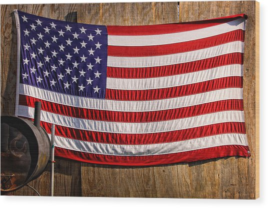 Smoker Flag Wood Print