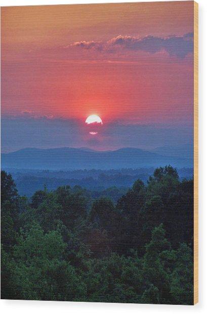 Smokey Mtn Sunset Wood Print