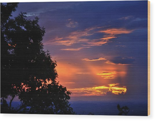 Smokies Sunset 3 Wood Print
