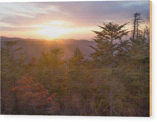 Smokies Sunset Wood Print by Doug McPherson