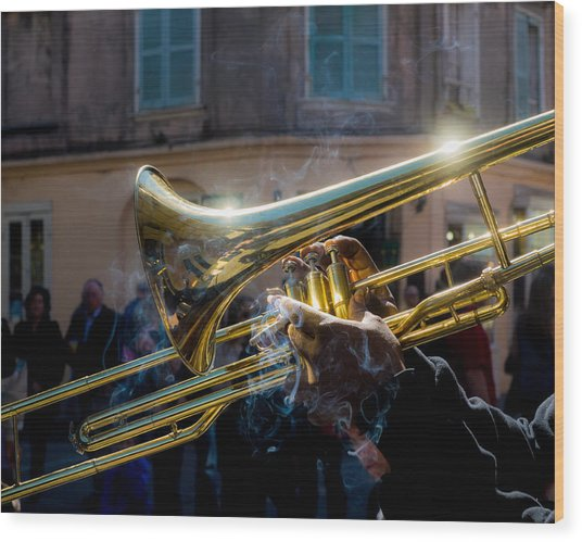 Smoking Hot Trombone Wood Print