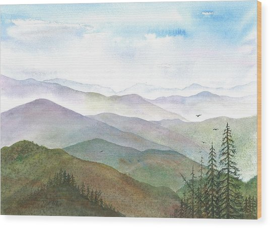 Smoky Mountain Morning Wood Print by Rosie Phillips