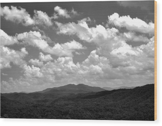 Smoky Peaks And Sky 2 Wood Print