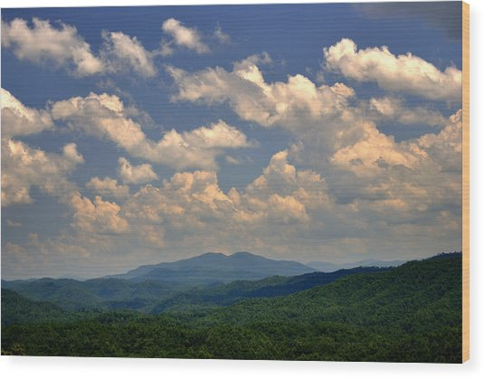 Smoky Peaks And Sky Wood Print