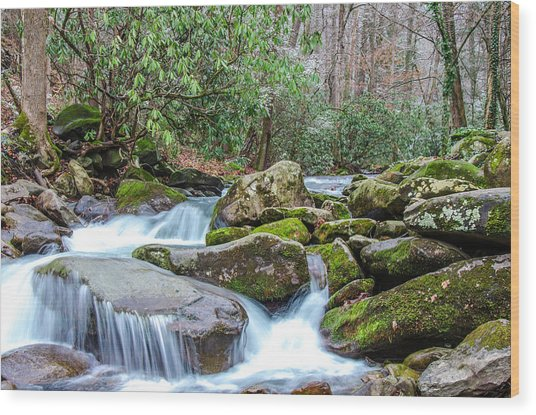 Smoky Stream Wood Print
