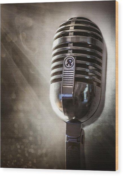Smoky Vintage Microphone Wood Print