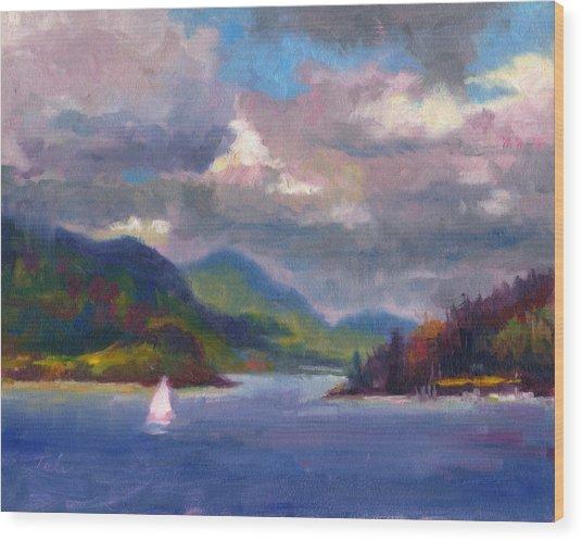 Smooth Sailing Sailboat On Alaska Inside Passage Wood Print