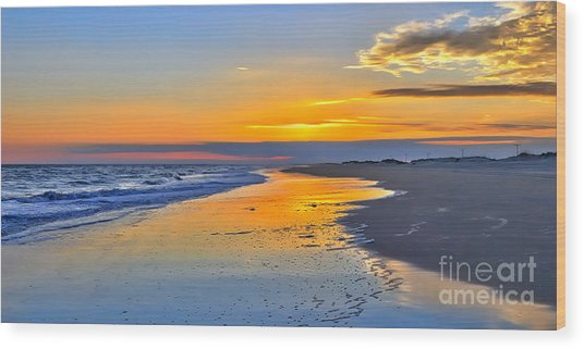 Smooth Sunset On Ocracoke Outer Banks Wood Print by Dan Carmichael