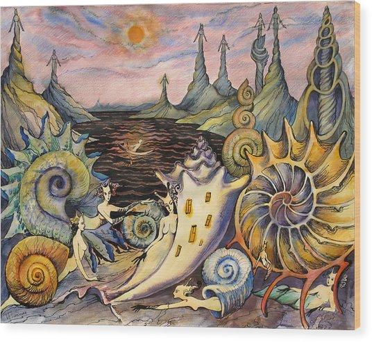 Snail City  Wood Print