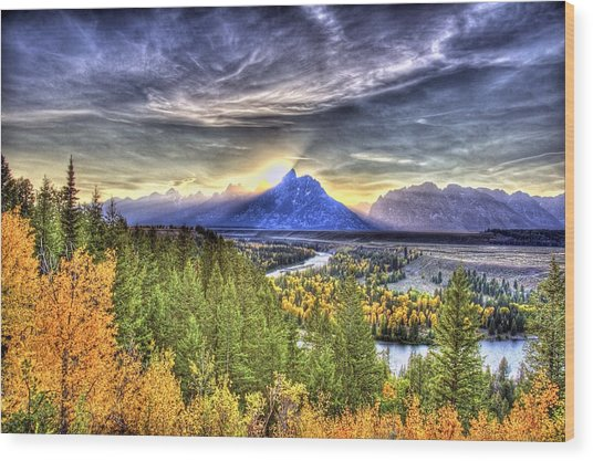 Snake River Over Look Fall Sunset Wood Print