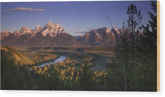 Snake River Panorama Wood Print by Andrew Soundarajan