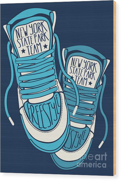 Sneakers Graphic Design For Tee Wood Print