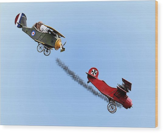 Snoopy And The Red Baron Wood Print
