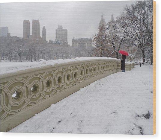 Snow At Bow Bridge Wood Print