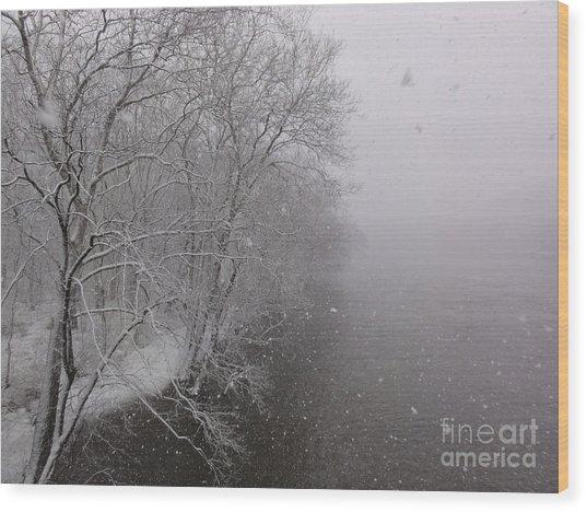 Snow At Bulls Island - 12 Wood Print
