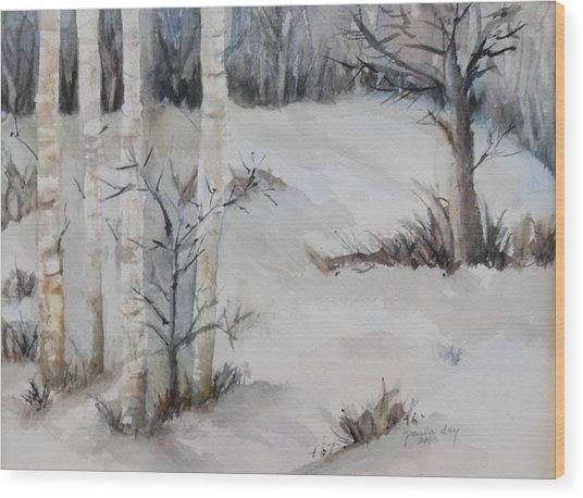 Snow Birches Wood Print