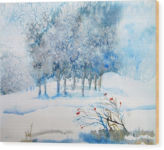 Snow Blizzard In The Grove  Wood Print