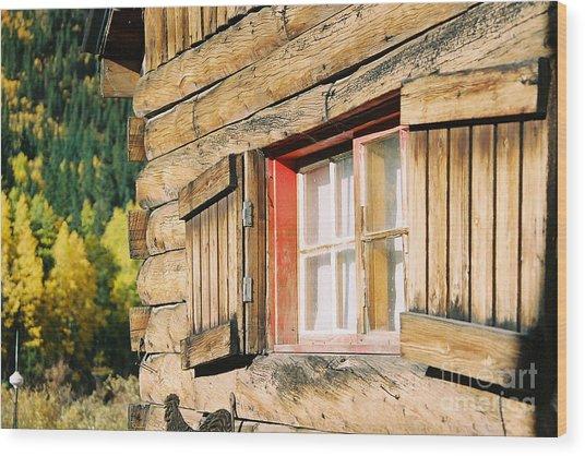 Snow Cabin Window Wood Print