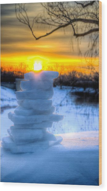 Snow Candle - North Of Chicago 1-8-14 Wood Print by Michael  Bennett