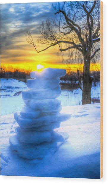 Snow Candle - Sunrise North Of Chicago 1-8-14 002  Wood Print by Michael  Bennett