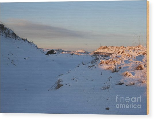 Snow Capped Sand Dunes Wood Print