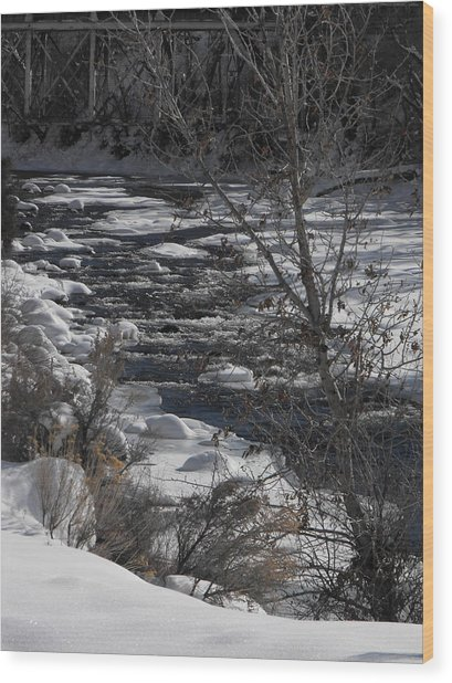 Snow Capped Stream Wood Print