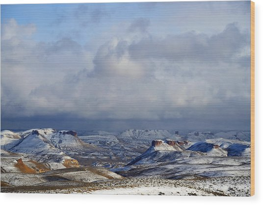 Snow Clouds Over Flaming Gorge Wood Print