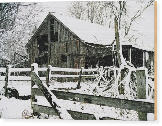 Snow Covered Barn Wood Print